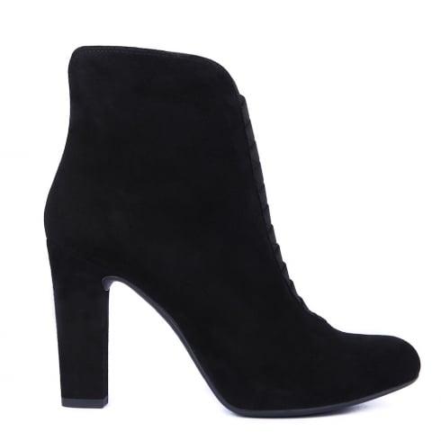 Unisa Pansi Black Suede Block Heeled Ankle Boots