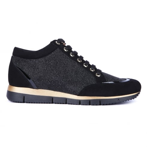 Unisa Barday Black Glitter Lace Up Womens Sneakers