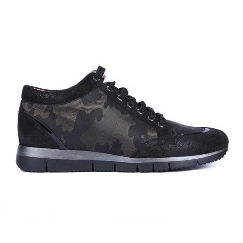 Unisa Barday Black/Camo Fabric Lace Up Womens Sneakers