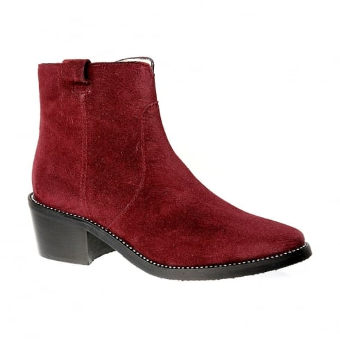 Nicola Sexton Wine Suede Ankle Boot