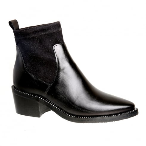 Nicola Sexton Black Stretch Sock Top Ankle Boot