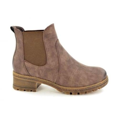 Hengst Ladies Comfort Brown Block Heel Ankle Boots