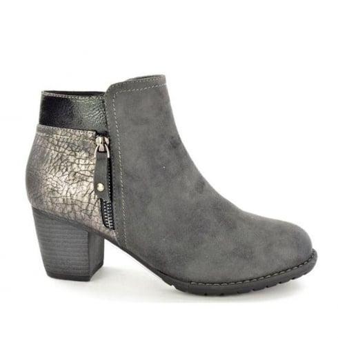Hengst Ladies Comfort Grey Suede Mid Heel Ankle Boots