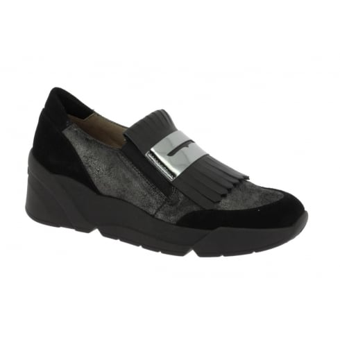 Wonders D-8113 Wonders Black Shimmer Tassel Front Trainer Shoe