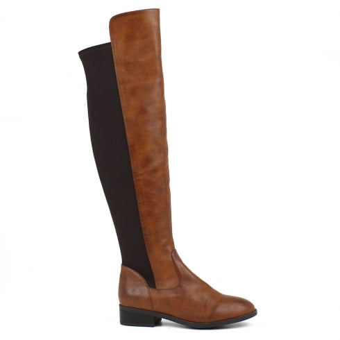 XTI Womens Camel Flat Elasticated Long Boots