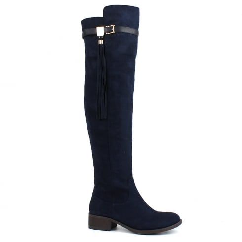 XTI Womens Over The Knee Navy Boots