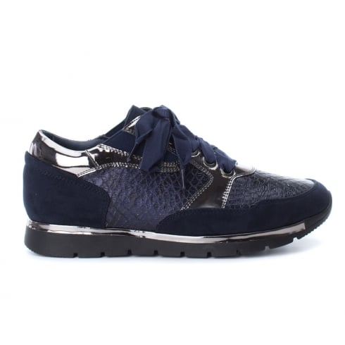XTI Womens Navy Lace Up Trainers Shoes