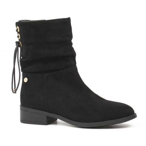 XTI Womens Black Over The Ankle Mid Calf Flat Boots