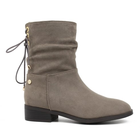 XTI Womens Taupe Over The Ankle Mid Calf Flat Boots