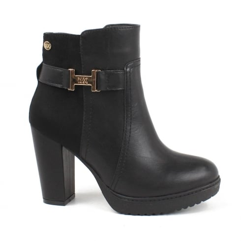 XTI Womens Black Block Heeled Ankle Boots
