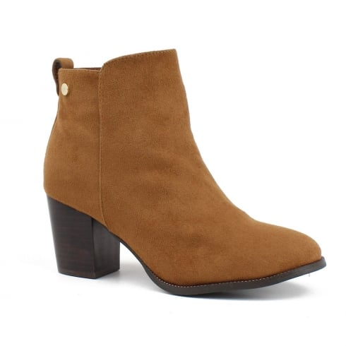 XTI Womens Camel Suede Cowboy Style Ankle Boot