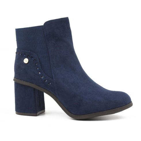 XTI Womens Navy Suede Block Heeled Ankle Boots