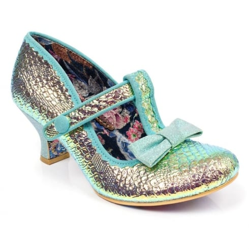 Irregular Choice Lazy River Green Mid Heeled T-bar Velcro Shoe