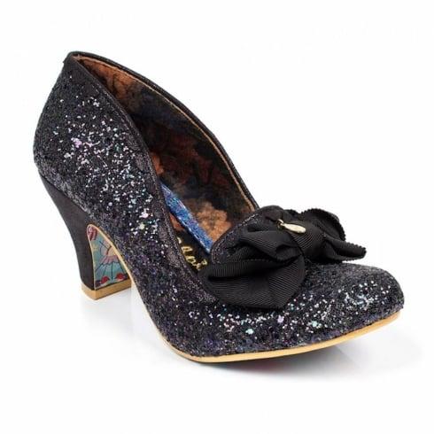 Irregular Choice Kanjanka Black Glitter Mid Heeled Shoe