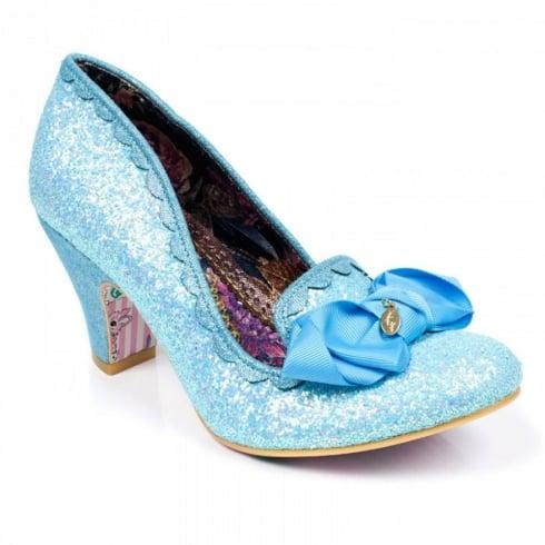 Irregular Choice Kanjanka Blue Glitter Mid Heeled Shoe