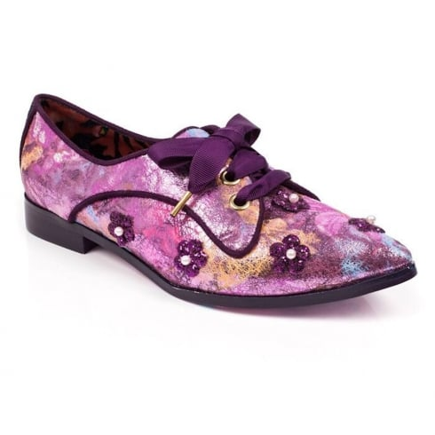 Irregular Choice Go Dutch Pink&Purple Lace Up Flat Womens Shoes
