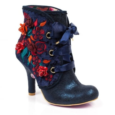 Irregular Choice Autumn Harvest Navy Heeled Ankle Boots
