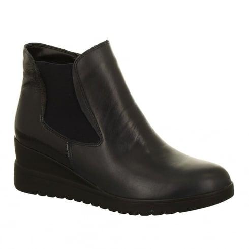 Ara Flat Wedge Black Elasticated Casual Ankle Boot
