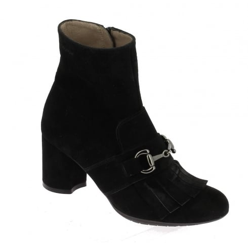 Wonders I-6834 Wonders Black Tassel Front Ankle Boot - Black