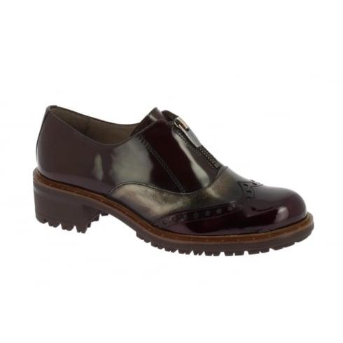 Wonders E-5605 Wonders Brown Bronze and Burgundy Zip Front Shoe