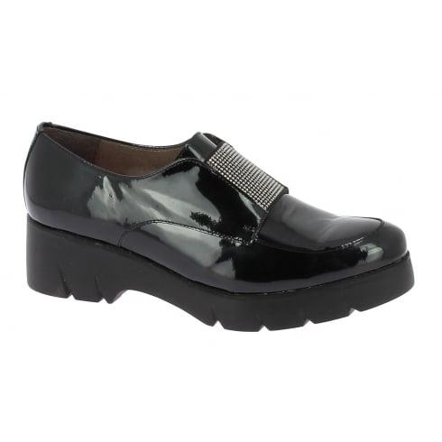 Wonders C-4705 Wonders Black Patent Slip On Shoe