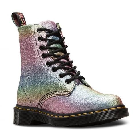 Dr. Martens Dr Martens Womens Pascal Multi Glitter Rainbow Ankle Boots