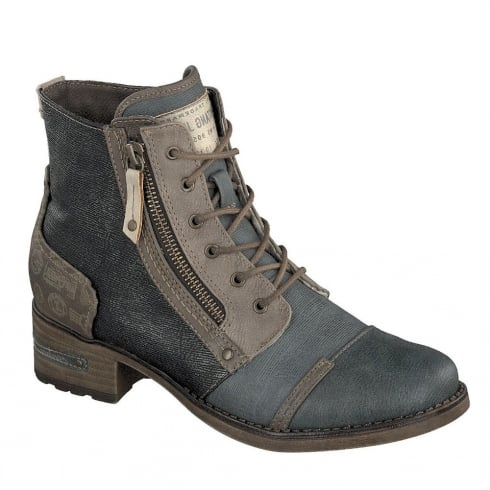 Mustang Womens Graphite/Brown Lace Up Ankle Boots