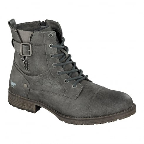 Mustang Mens Dark Grey Lace Up Ankle Boots
