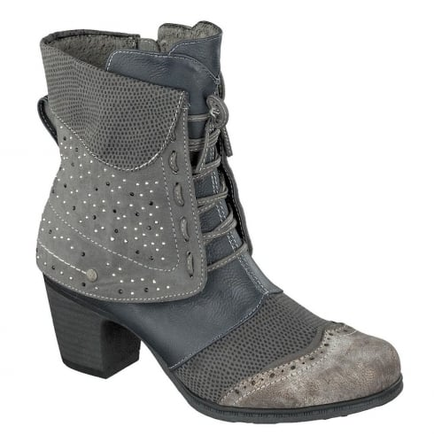 Mustang Grey/Navy Micro Stones Ankle Boots