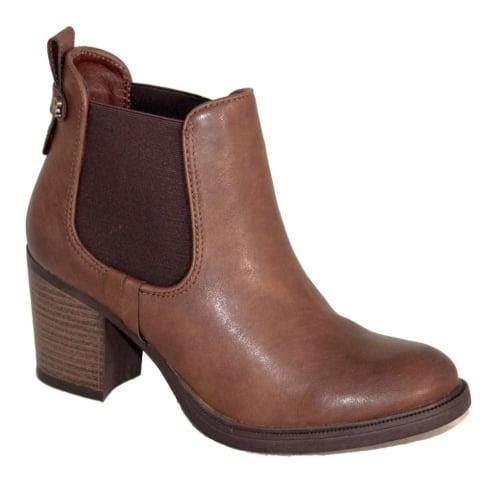 Refresh Dark Camel Heeled Chelsea Ankle Boot