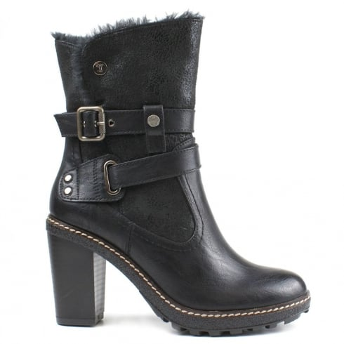 Refresh Black Block Heeled Ankle Boot