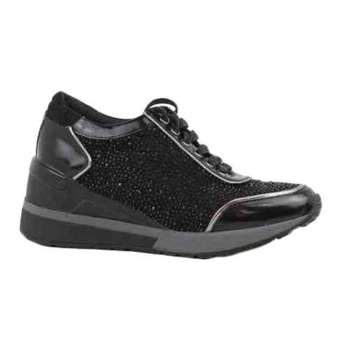 Bass3d Womens Black Lace Up Rhinestones Sneakers