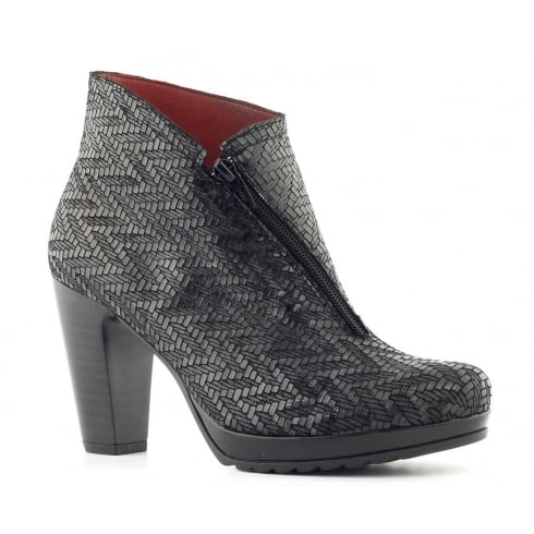 Jose Saenz 7094 Black Python Ankle Boot
