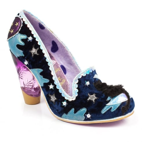 Irregular Choice Stars At Night - Navy Fluffy Cat High Heels