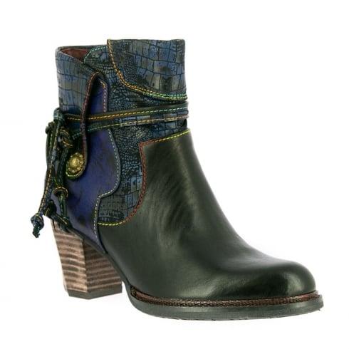 Laura Vita Womens Cathy Black Leather Block Heel Boots