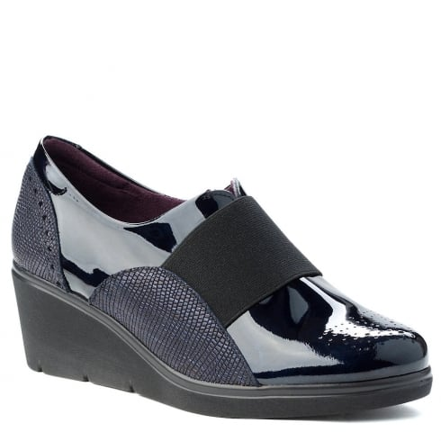 Pitillos Womens Elastic Navy Wedge Shoes