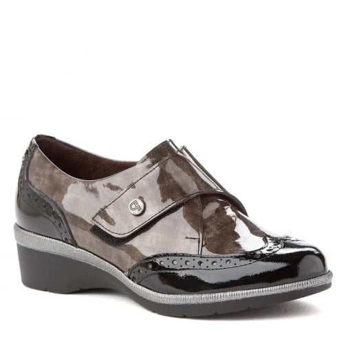 Pitillos Womens Black/Brown Velcro Strap Wedge Heeled Shoes