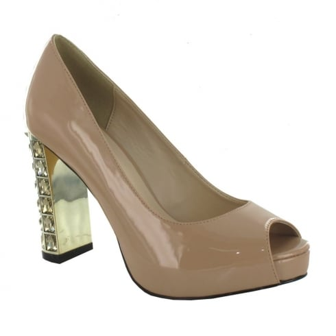 Menbur Perseo Patent Nude Diamante Block High Heeled Court