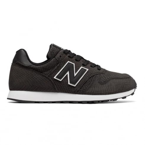 New Balance WL373 Womens Black Snake Leather Sneakers