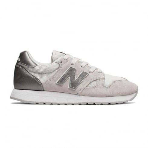 New Balance WL520 Womens Off White Metallic Sneakers
