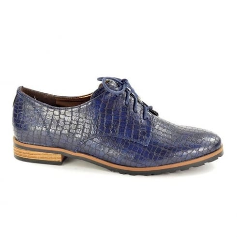Fabulous Fabs Womens Navy Croc Print Brogue Lace Shoes