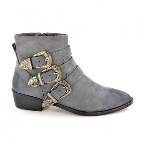 Fabulous Fabs Grey Suede Buckle Ankle Boot