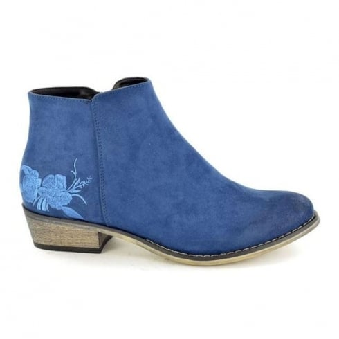 Fabulous Fabs Womens Blue Suede Flower Detail Ankle Boots