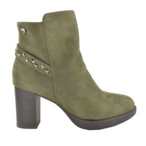 Fabulous Fabs High Heeled Khaki Studded Strap Ankle Boots