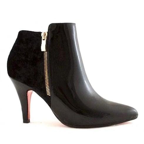 Kate Appleby Trinity Black Velvet Patent Cone Heel Ankle Boots