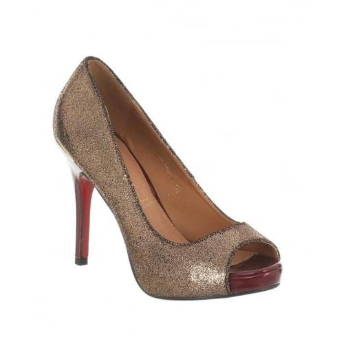 Kate Appleby Devon Gold Bronze Glitter Peep Toe Platform Court
