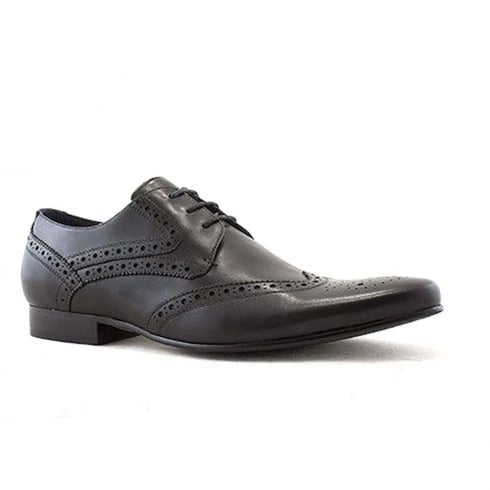 Escape Mens Blanche Oxford Black Leather Smart Shoes