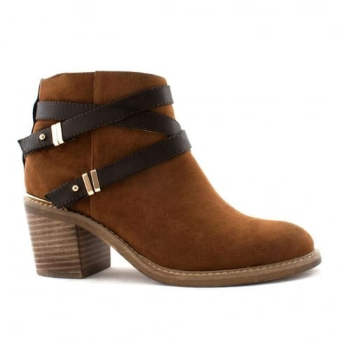 Escape Helena Tan Ankle with Straps Heeled Boots