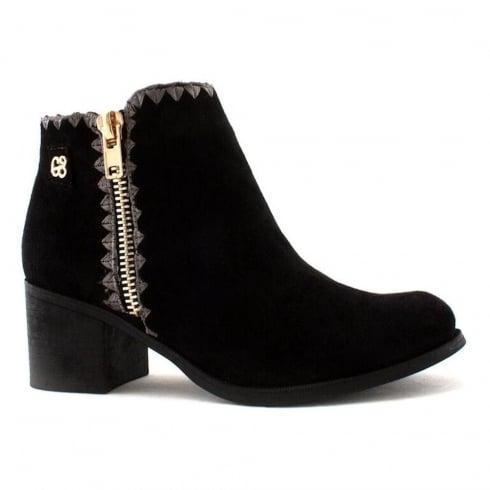 Escape California Black Decorative Embroidery Ankle Boots