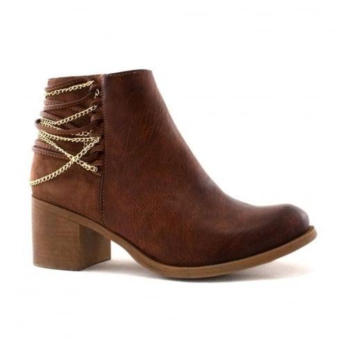 Escape Shoes Escape Dover Brown Chain Strap Heeled Ankle Boots